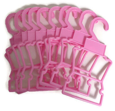 "10 Pink Outfit Hangers fits 14.5"" American Girl Wellie Wishers Doll Clothes"