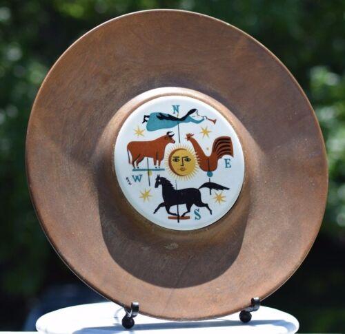 VINTAGE+Mid-Century+FOLK+ART+Woodbury+Vermont+Wood+Tray+with+Porcelain+Insert