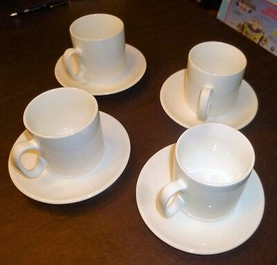 Rubicon Vertex China SM-RB 10 Oz. White Summit Mugs and Saucers SET of 4