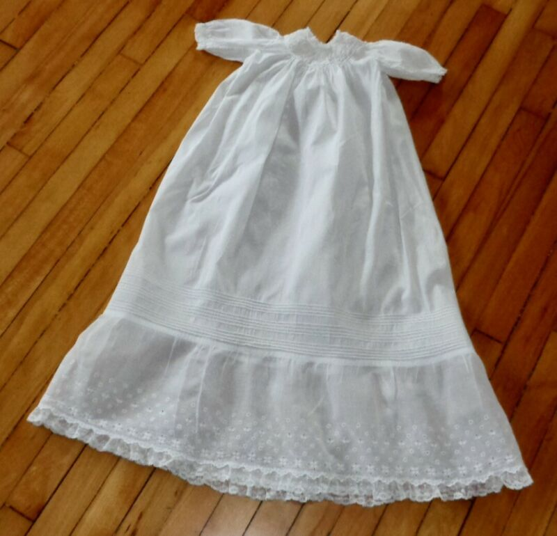 """ANTIQUE VICTORIAN 37 1/2"""" LONG CHRISTENING GOWN LACE PIN TUCK INFANT BABY DRESS"""
