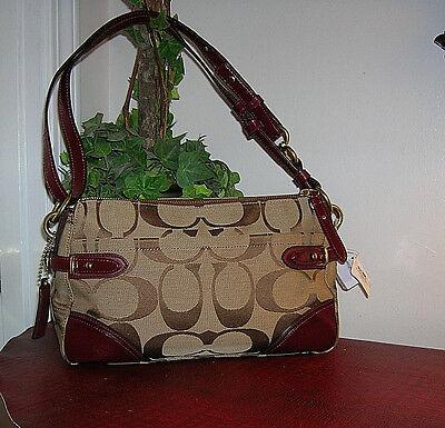 Coach Colette Signature Red/Brown Leather/Jacquard Zip Shoulder Bag/Purse new