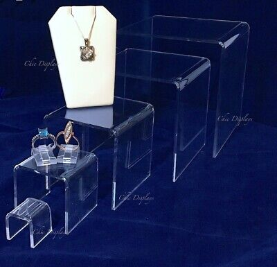 Large Acrylic Jewelry Riser Set Jewelry Showcase Fixtures Counter Displays 5-pc