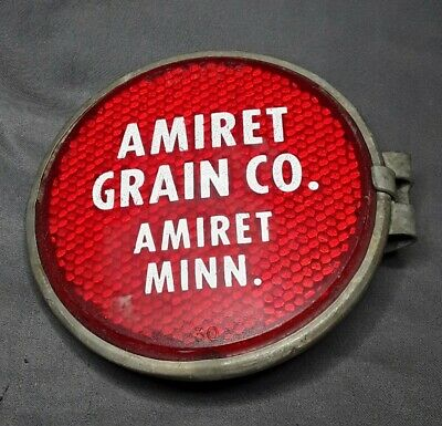 Vintage Farm Tractor Implement Stratolite Red Safety Reflector Grain Advertising