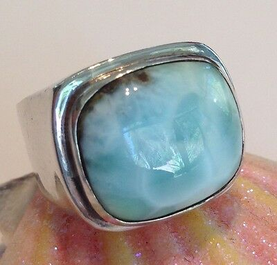Larimar and Sterling Silver Ring Rectangular Cushion Cabochon Carribean - Sterling Silver Rectangular Cabochon Ring