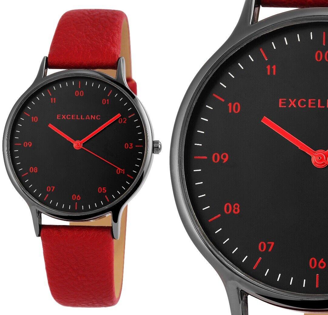 moderne Damenuhr Armbanduhr Schwarz Rot Black Red Kunstleder 1900212 Excellanc