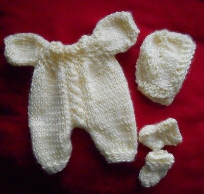 """Doll Clothes Yellow Vintage Style Hand-Knitted set Fit baby Truly Real 10""""  12"""""""