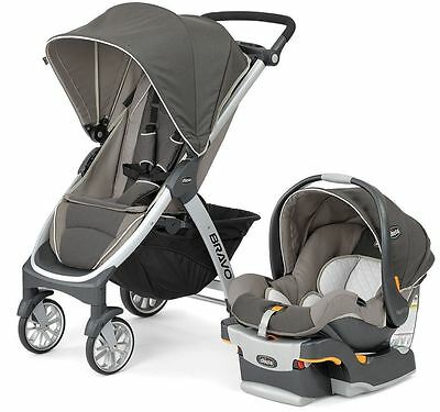 Chicco Bravo Trio 3-in-1 Baby Travel System Stroller with KeyFit 30 Papyrus NEW