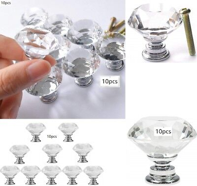 Glass Cabinet Knobs Pulls Crystal Handles Kitchen Hardware Door Chrome Drawer  (Chrome Glass Cabinet)
