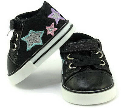 Black Glitter and Stars Tennis Shoes Sneakers for 18