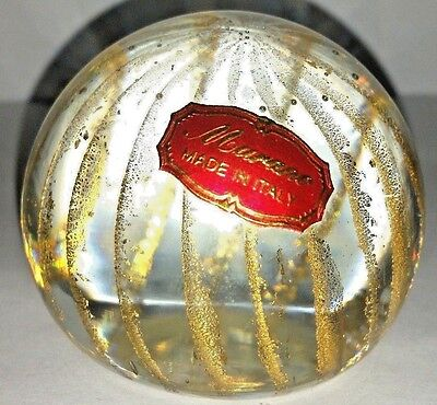Vintage ART GLASS PAPERWEIGHT GOLD STRIPED MURANO WITH LABEL