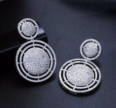 (18k White Gold Big Hoop Earrings made w Swarovski Crystal Pave Diamond Stone)