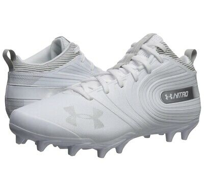 $130 UNDER ARMOUR UA NITRO MID MC FOOTBALL CLEATS WHITE 3000181-100 Free Ship!