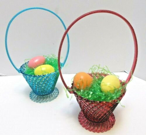 "Vintage Pair Easter Baskets Regaline Plastics Red and Blue About 10"" Tall 1960s"