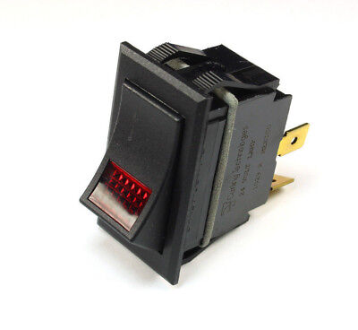 1pc Carling Lighted Rocker Switch Red Jewel Spst Onoff 24v Lamp 3 Prong