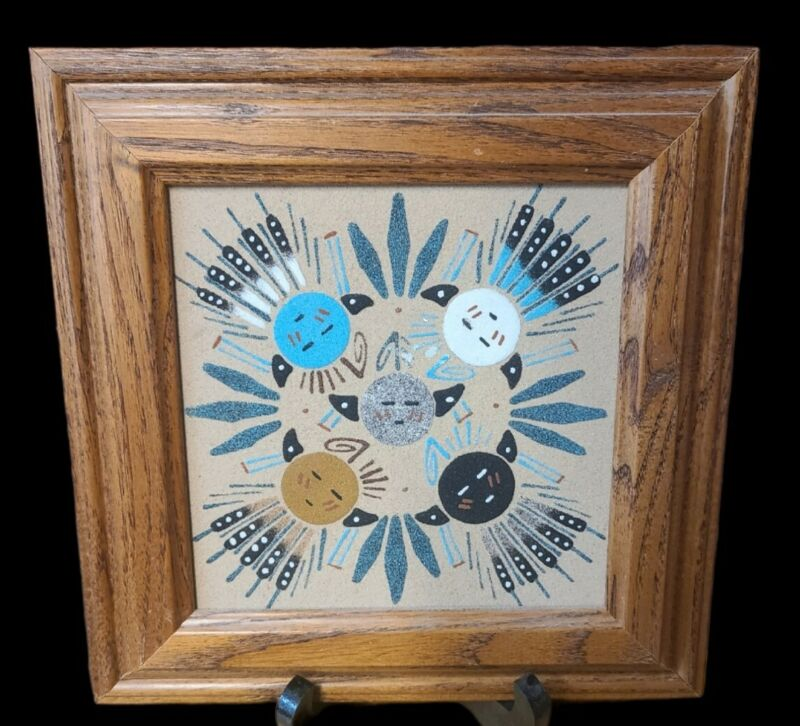 """Authentic Native American Navajo Framed Sand Painting Art 9"""" x 9"""""""