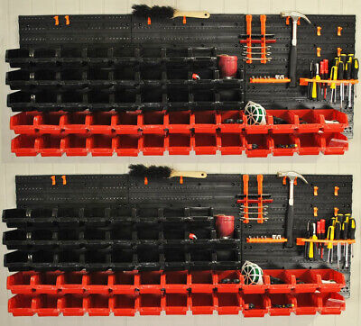 Pack of 2 Tool Wall Storage Rack Panels For Garden Sheds and Garages (68 Pieces)
