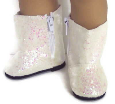 Ivory Sparkle Boot Shoes made for 18 inch American Girl Doll Clothes - Ivory Shoes For Girls