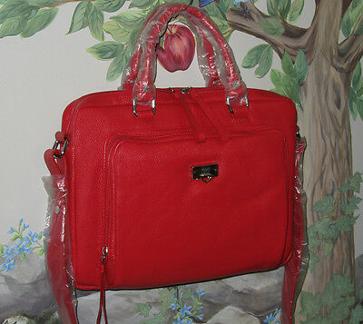 New BODHI Red Leather Padded MacBook iPad Case Convertible Briefcase Travel Bag