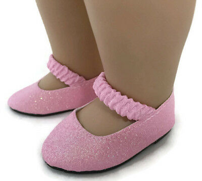 Pink Sparkle Dress Shoes with Strap for 18 inch American Girl Doll - Pink Dress With Shoes