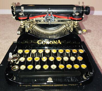 1917 Corona 3 folding typewriter French keyboard And Original Case