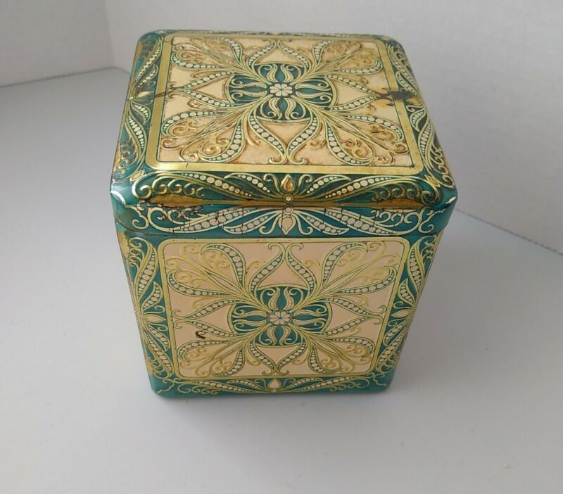 Vintage Decorative Square Tin Hinged Lid Made in Holland Green Gold Embossed