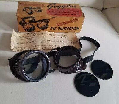 Vtg Marquette Bakelite Welding Goggles Eye Glasses Extra Dark Lenses