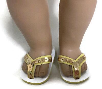Gold Sequined Flip Flops Sandal Shoes made for 18
