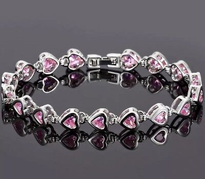 Pink Sapphire Heart Bracelet White Gold Over 7.5 Inch