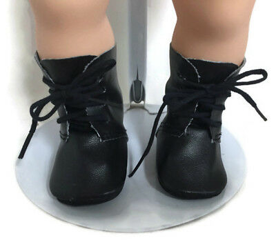 (Black Tie Boot Shoes for 15 inch Bitty Baby & Twin Doll Clothes Boy)