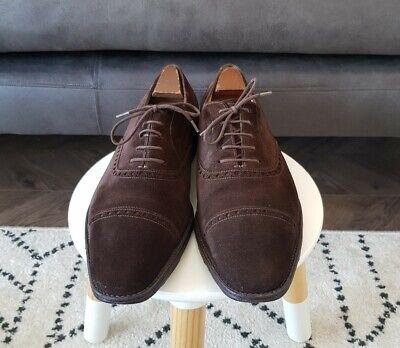 Mens JOHN LOBB AVON Brown Suede Lace Up Brogue Shoes, Size 9.5E, VGC, RRP £850