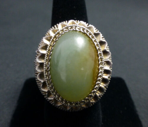 Large Statement Chinese Jade and Silver Vintage Ring Bold size 9!