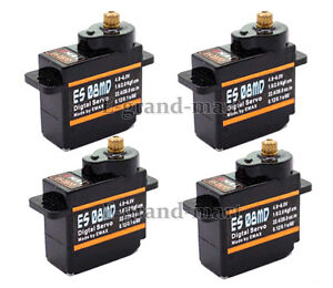 4x Emax 12g/ 2.4kg/ .08sec High-speed Mini Metal Gear Digital Servo ES08MD - US