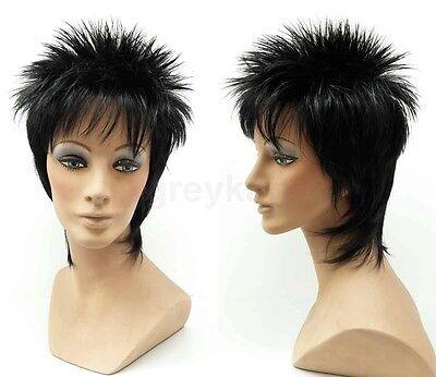 Black Short Spiky Style Mens Wig Synthetic Rod Stewart Rocker Style Costume