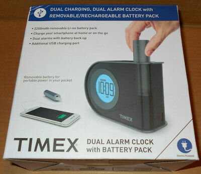 Timex T402 Dual Alarm Clock With Removable/Rechargeable USB Battery Pack Charger (Alarm Clock With Usb Charger)