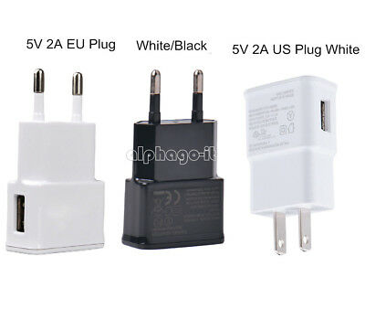2 Port Wall (White/Black US/EU 5V 2A Plug 1 Port USB Wall Charger Fast Power Adapter Travel)