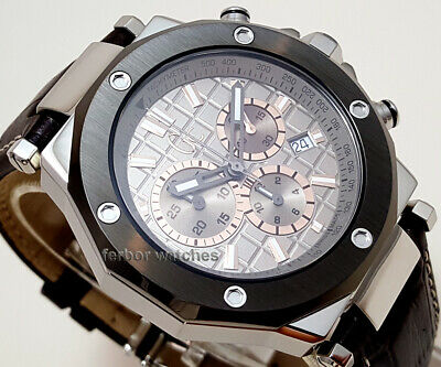GUESS COLLECTION CHRONO STAINLESS STEEL LEATHER SAPPHIRE DATE 100m X72026G1S