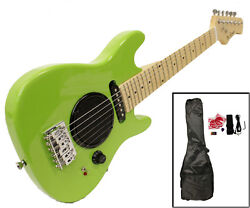 Child's Toy 30 Electric Guitar Built-in Amp - with Case & Acc. Kit - Green