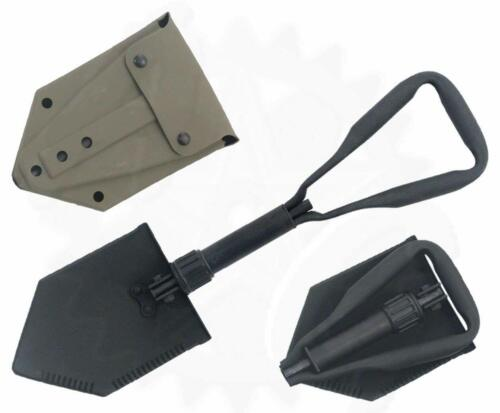 Military E-Tool, Folding Shovel w/ D Handle & Rubber Pouch