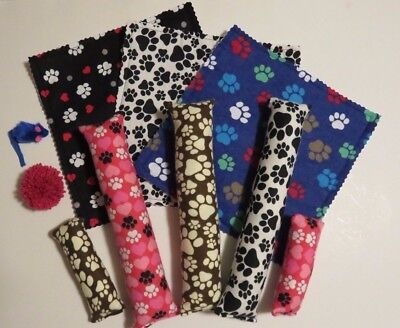Pawprint catnip gift bag- 10 cat toys -handmade kickers, mats mouse toy & more! ()
