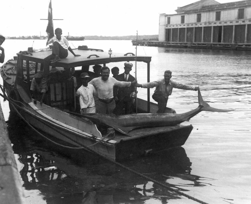 Ernest Hemingway Fishing Boat Marlin Black & White 8x10 Photo Print