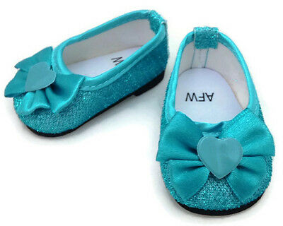 Teal Glitter Dress Shoes made for 18 inch American Girl Doll Clothes