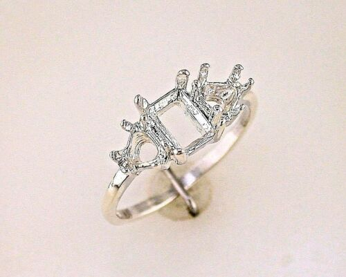 Ladies Trillion Accented Emerald Cut Ring Setting Sterling Silver