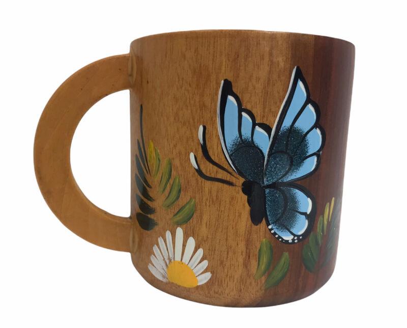 Costa Rica Wood Coffee Mug Butterfly And Flowers Handmade Souvenir Hand Painted