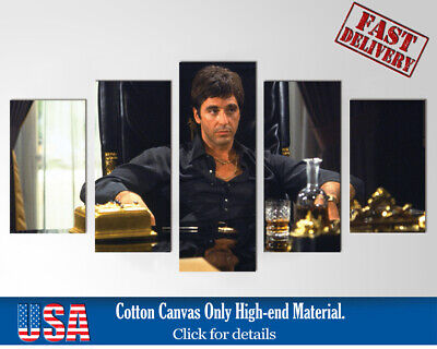 Scarface 2 Al Pacino Godfather 5 Piece Canvas Poster Wall Art Painting