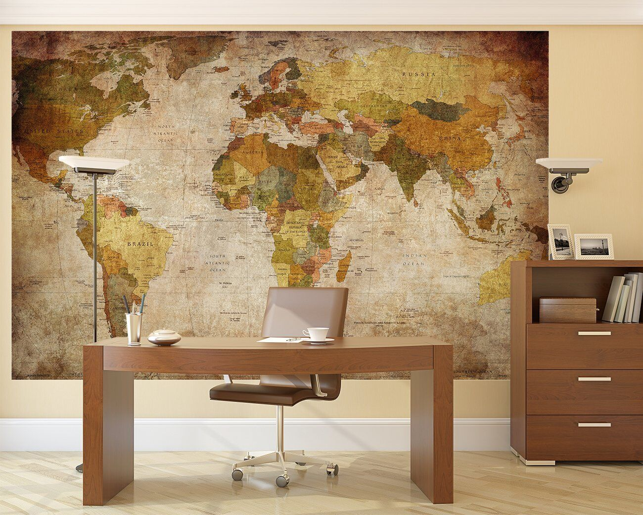 Photo Wall Mural Wallpaper Retro World Map Wall Art Decor