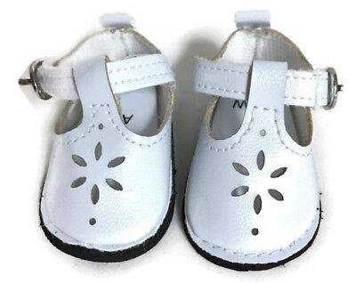 White Mary Jane Shoes for 14.5 inch American Girl Wellie Wishers Dolls  - White Mary Jane Shoes