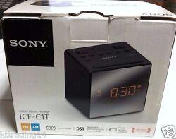 Sony ICF-C1T Desktop Alarm Clock AM FM Radio Black Automatic Set Up - READ