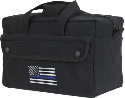 Black Heavyweight Mechanics Tool Bag Thin Blue Line TBL Support Police USA Flag Black Mechanics Tool Bag