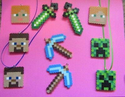 MINECRAFT Inspired Birthday Party Favors Lot of 10 NECKLACES Beads Steve Creeper