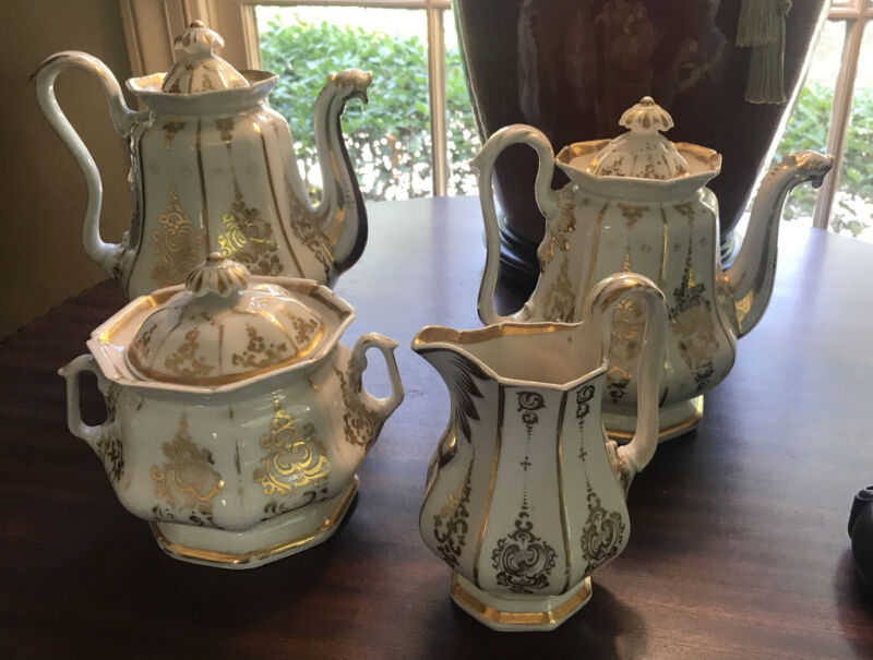 Antique 19th c Old Paris Porcelain 4 Pc. Tea Set Service White W/ Gold